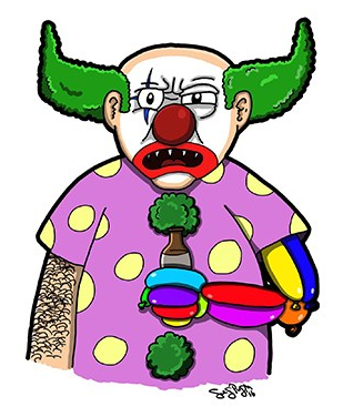 Arty Games Character Idea from 2016: Drunk, Angry Clown with a Prosthetic Arm